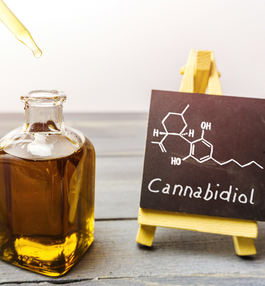 CBD Oil in glass bottle with chalkboard showing CBD oil molecule sold in Perry Hall